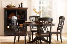 (2) ROUND DINING TABLE, SOLID WOOD TOP/1393BK-48*