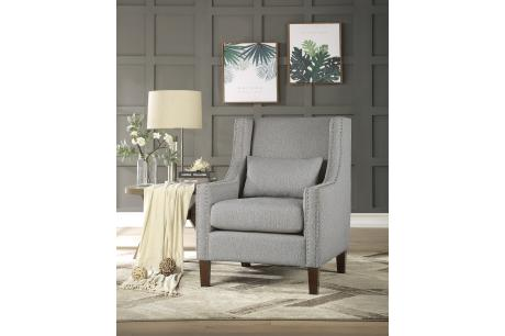 ACCENT CHAIR W/ KIDNEY PILLOW, LIGHT GRAY 100% POLYESTER/1114GY-1
