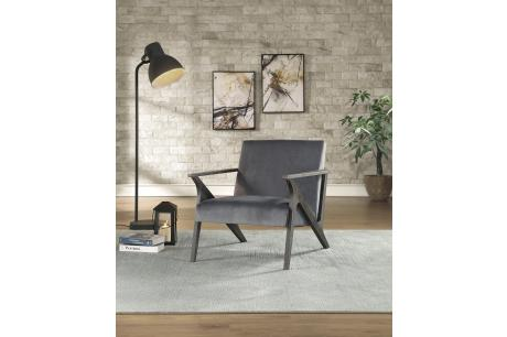 ACCENT CHAIR, GRAY VELVET/1111GY-1