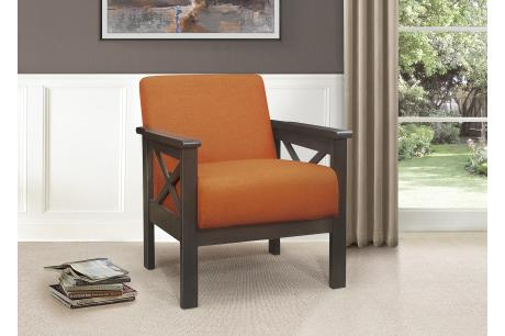 Accent Chair, X Arm, Orange 100% Polyester/1105RN-1