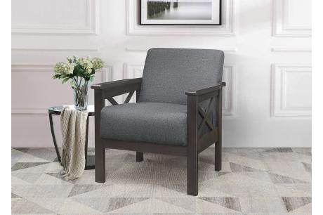 Accent Chair, X Arm, Gray 100% Polyester/1105GY-1