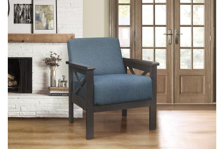 Accent Chair, X Arm, Blue 100% Polyester/1105BU-1