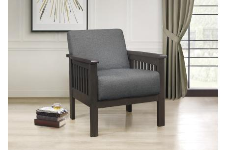 Accent Chair, Mission Arm, Gray 100% Polyester/1104GY-1