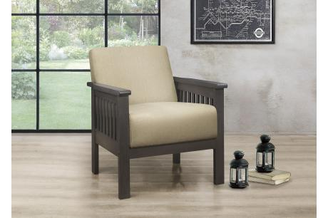 Accent Chair, Mission Arm, Light Brown 100% Polyeste/1104BR-1